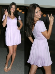 Adriana Lima in Lilac Dress