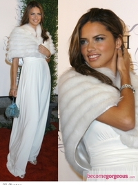 Adriana Lima in Long White Gown