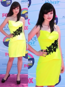 Ashley Rickards in Agua Dulce Neon Dress