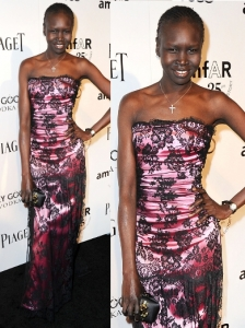 Alek Wek in Dolce & Gabbana Pink Lace Dress
