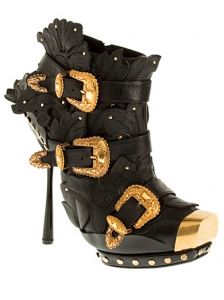 Alexander McQueen Embossed Leather Boots