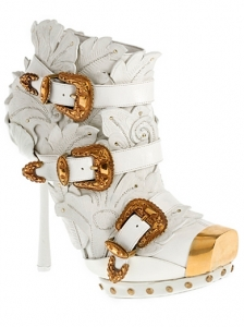 Alexander McQueen White Embossed Leather Boots