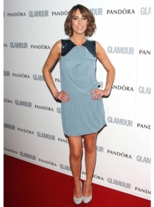 Alex Jones in Blue Grey Dress