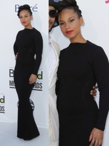 Alicia Keys in Alaia Long Sleeve Gown