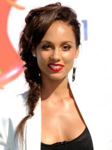 Alicia Keys Side Braid Hairstyle 2011 BET Awards