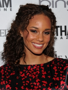 Alicia Keys Curly Half Updo Hairstyle