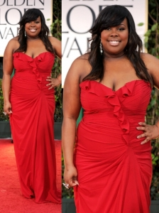 Amber Riley in Badgley Mischka at 2012 Golden Globes