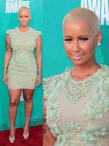 Amber Rose in Mint Green Dress