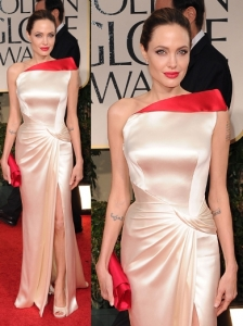 Angelina Jolie in Versace at 2012 Golden Globes