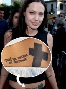 Angelina Jolie Latin Cross Lower Ab Tattoo