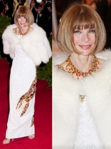 Anna Wintour in Prada Gown and Fur Shrug