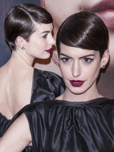Anne Hathaway Slicked Down Short Hairstyle
