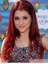 Ariana Grande Long Cherry Red Hairstyle