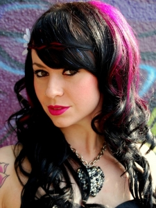Long Black Hair with Pink Highlights
