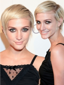 Ashlee Simpson Slicked Short Hairstyle