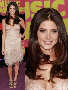 Ashley Greene in Donna Karan Feathered Dress