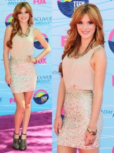 Bella Thorne in All Saints Sequin Skirt