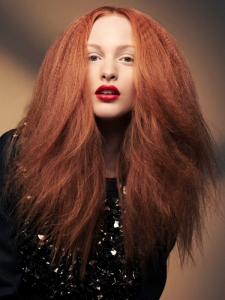 Long Red Crimped Hairstyle