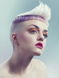 Platinum Hair with Purple Highlights