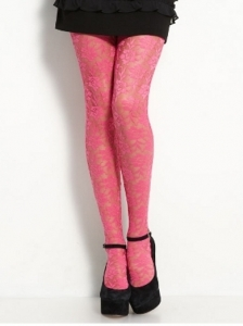 Betsey Johnson Bubble Gum Lacy Tights