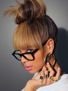 Beyonce's Top Knot Updo with Bangs