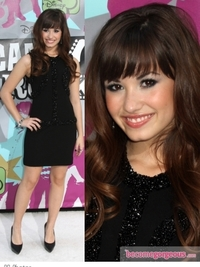 Demi Lovato in Burberry Prorsum Black Mini Dress
