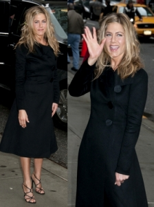 Jennifer Aniston in Black Coat