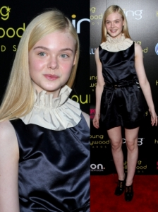 Elle Fanning in Marc by Marc Jacobs Black Silk Jumpsuit
