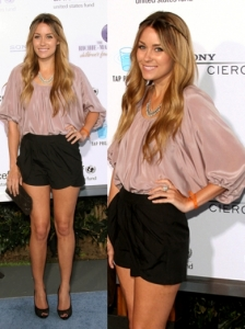 Lauren Conrad in Black Shorts and Silk Top