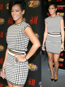 Rihanna in Houndstooth Two Piece