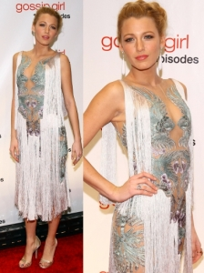 Blake Lively in Marchesa Fringe Dress