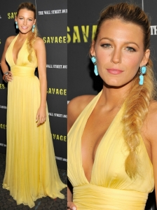 Blake Lively in Custom-Made Gucci Yellow Gown