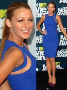 Blake Lively in Blue Michael Kors Dress