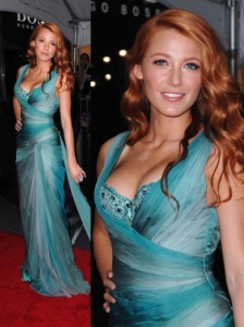 Blake Lively in Aqua Zuhair Murad Couture Gown
