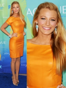 Blake Lively in Gucci Orange Leather Dress