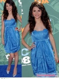 Selena Gomez in Mint Jodi Arnold Blue Mini Dress