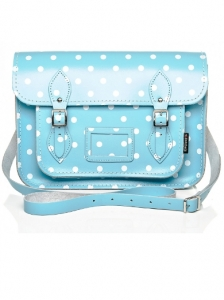 Baby Blue and White Polka Dot Satchel
