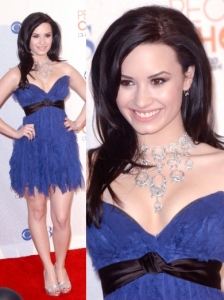 Demi Lovato in Blue Jenny Packham Mini Dress