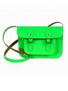 Small Neon Green Leather Satchel Bag