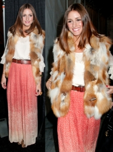 Olivia Palermo in Fur Vest and Tibi skirt
