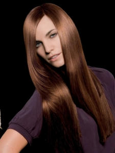Voguish Long Glossy Hairstyle