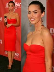 Megan Fox in Calvin Klein Red Dress