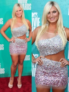 Brooke Hogan in Glitzy Cut-out Mini Dress
