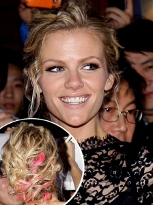 Brooklyn Decker's Messy Updo with Pink Highlights