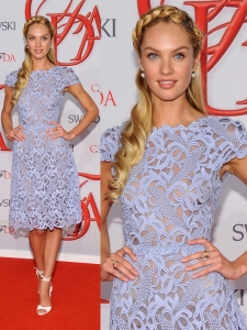 Candice Swanepoel in Valentino Blue Lace Dress