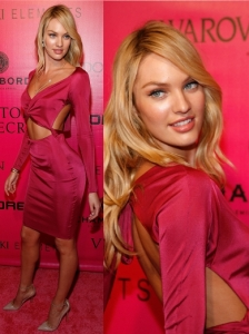 Candice Swanepoel in Sexy Cut-Out Dress