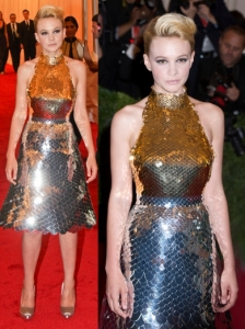 Carey Mulligan in Prada Metallic Dress