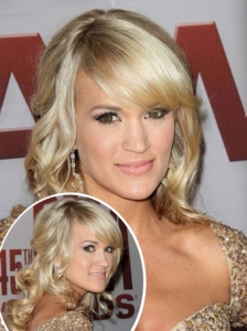 Carrie Underwood Curly Half Up Style