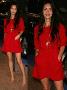Megan Fox Casual Red Dress