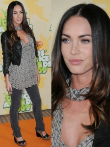 Megan Fox in Casual Frill Top and Jeans